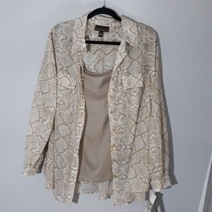 Dana Buchman tan snakeskin blouse with cami